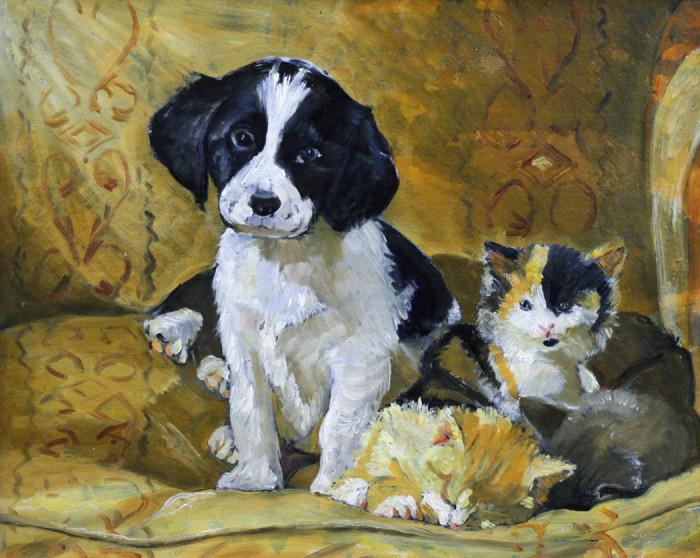 Стремоухова С. Собака и котята