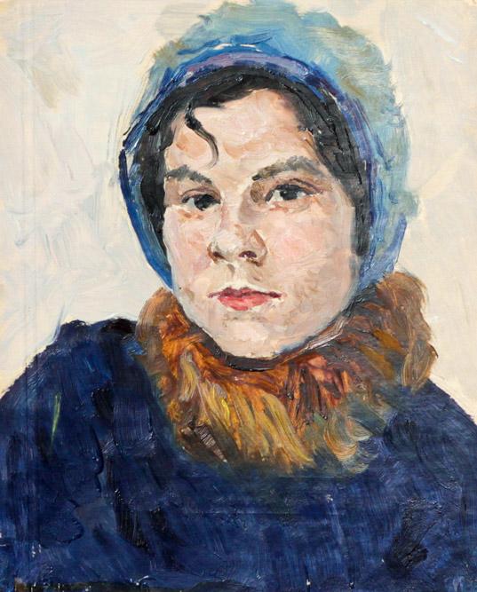 Огородов Г.В. Портрет девушки в синей шапочке