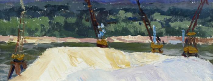 Огородов Г.В. Погрузка песка на баржи на Белой