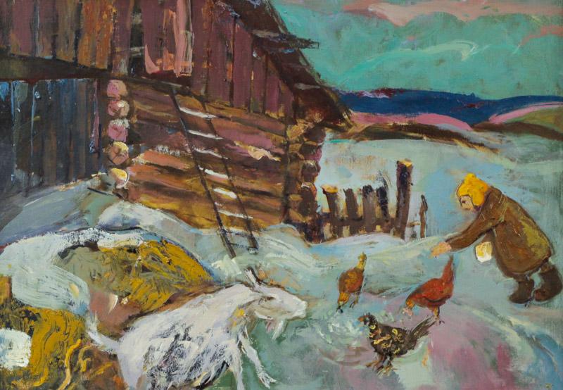 Стремоухова С. Старый сарай. Коза и три курицы